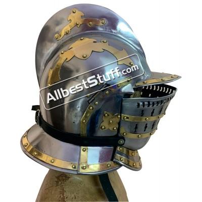 SALE! Medieval Burgonet Helmet of 16th Century 18 Gauge Steel