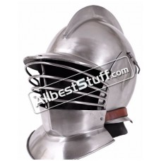 Medieval Burgonet Helmet with Bevors Heavy 14 Gauge Steel
