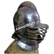 Medieval Burgonet Helmet with Bevors Heavy 14 Gauge Steel