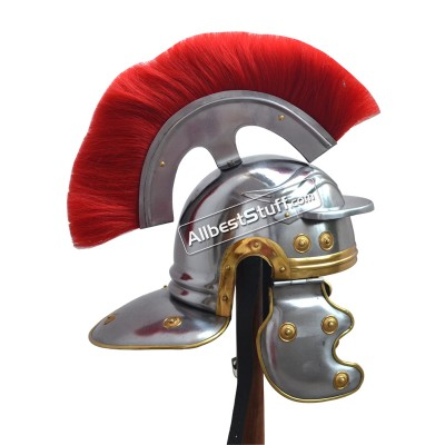 Medieval Centurian Helmet Roman Centurion Plume with Screw and LINER Chin Strap