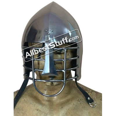 SALE! Medieval Early Nasal 18 Gauge Steel SCA Battle Helmet