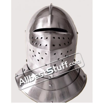 Medieval English Closed Helmet 16th Century made of 18 Gauge Steel