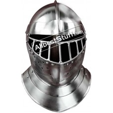 Medieval English Tourney Close Helmet 14 Gauge Steel
