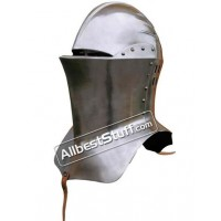 Medieval Frog mouth Armet Helmet Made of 18 Gauge Steel