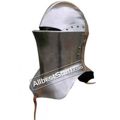 Medieval Frog mouth Armet Helmet Made of 18 Gauge Steel