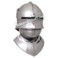 Medieval Gothic Sallet Helmet with Bevor 16 Gauge Steel