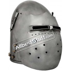 Medieval Great Fighting Bascinet Helmet 14G Steel Helmet
