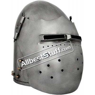 Medieval Great Fighting Bascinet Helmet 14G Steel Helmet