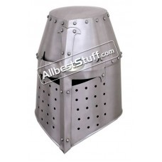 Medieval Great Helmet Crusader 18 Gauge Steel Helm