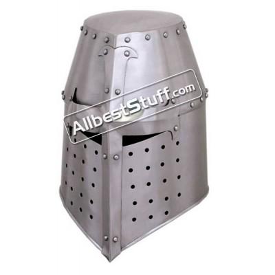 Medieval Great Helmet Crusader 18 Gauge Steel Helm