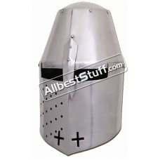 Medieval Great Helmet Pembridge Style 14 Gauge Steel