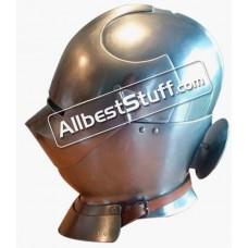 Medieval Italian Closed Helmet with Bevors 18 Gauge Steel