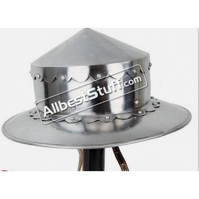 Medieval Kettle Hat Helmet from Heavy 14 Gauge Steel