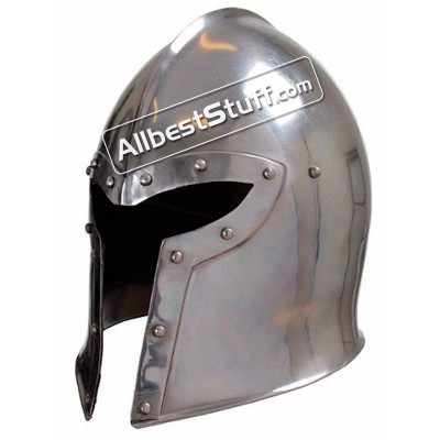 Medieval LARP Y Shaped Barbuta Helmet Made of 16 Gauge Steel