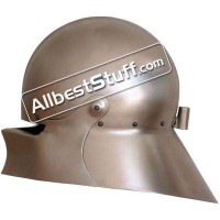 Medieval Maximilian Sallet Helmet Made of 16 Gauge Steel