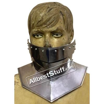 Medieval Neck Protection Bevor 16 Gauge steel with leather strap