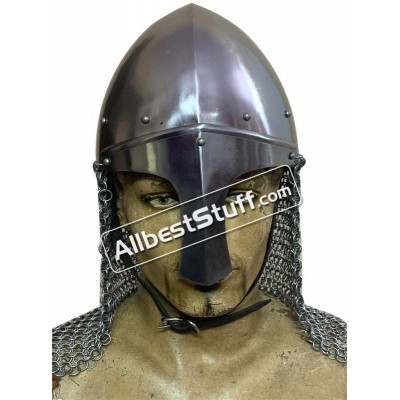 Medieval Norman Nasal Helmet with Chain mail Aventail