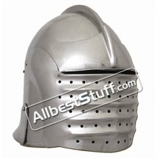Medieval North Italian Bellows Face Visored Sallet Helmet Strong 16 Gauge Steel