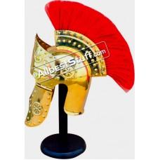 Medieval Roman Praetorian 18 Gauge Brass Helmet with Plume