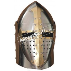 Medieval Sugar Loaf Helmet with hinged Visor 16 Gauge Steel Polished