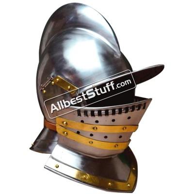Medieval Tudor burgonet Helmet made of 18 Gauge Steel