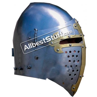 Medieval Visor Helmet made from Steel Combat Version