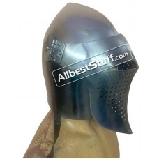 Medieval Visored 14 Gauge Steel Helmet