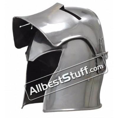 Medieval Visored Barbuta Helmet 18 Gauge Steel