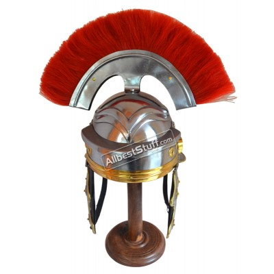Roman Guard Armor Helmet Brass-Accents Medieval Knight Crusader RED PLUME