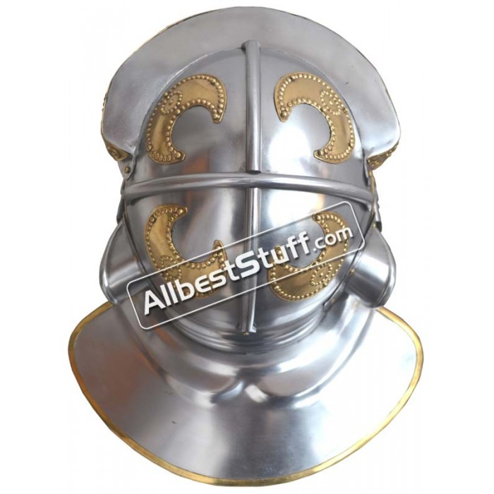 Roman Steel Imperial Italic 'G' Hebron Helmet With Brass Trim