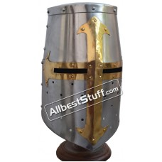 Templar Crusader Helmet with Mason Cross in Brass