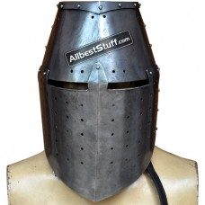 Medieval Great Helmet Crusade 16 Gauge Helm