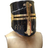 Medieval Crusader Helmet Black Finish with Brass Cross 16 Gauge