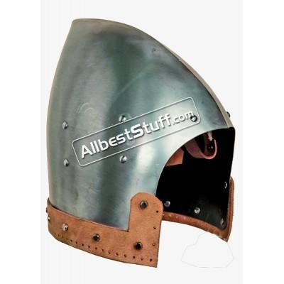 Medieval Bascinet Helmet Made of 14 Gauge Steel