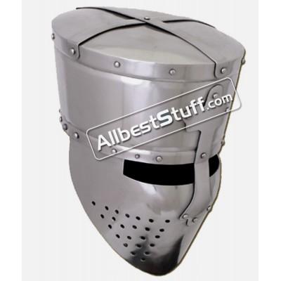 Medieval Crusader Templar Helmet 16 Gauge Steel 1200 AD