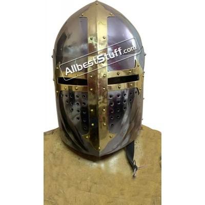 Medieval Sugar Loaf Helmet with hinged Visor 16 Gauge Steel Polished