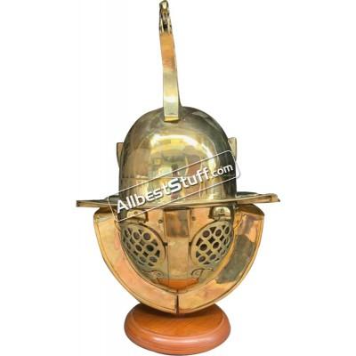 Roman Gladiator Helmet 18 Gauge Medieval Thracian Brass Helmet