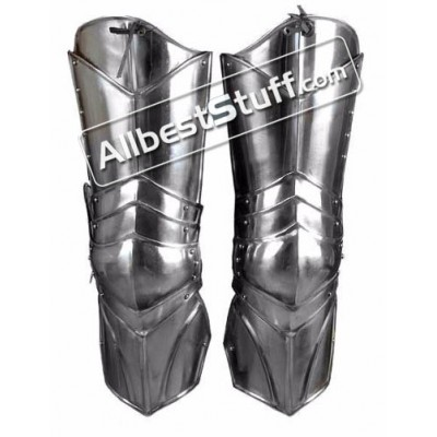 Medieval Plate Armor Leg Protectors with Adjustable Leather Straps 18 Gauge