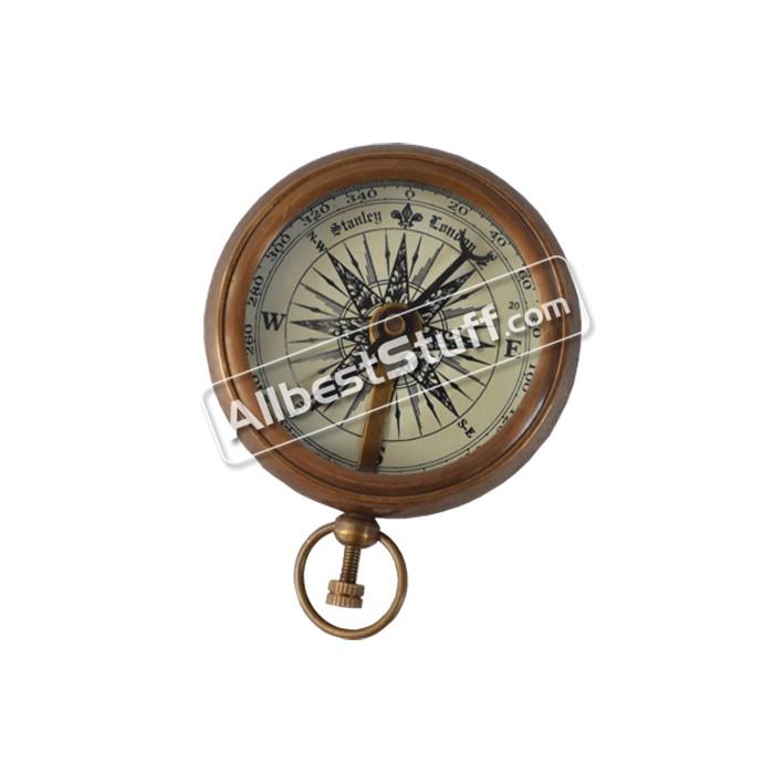 Nautical Maritime Stanley London Antique brass pocket Compass