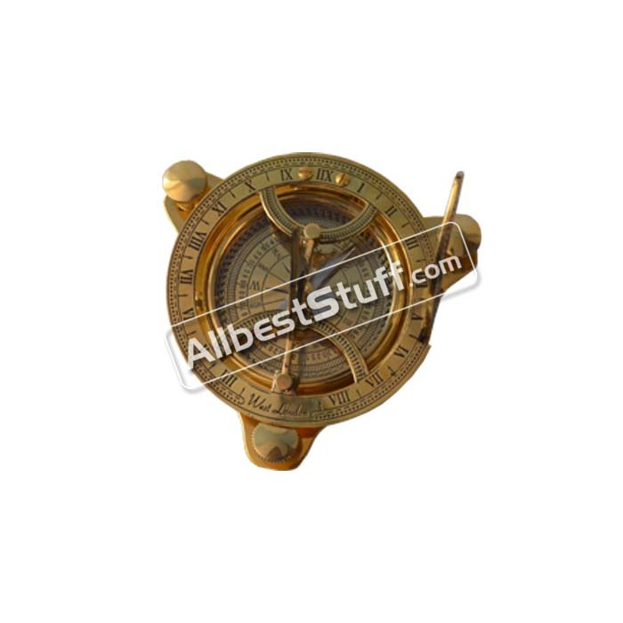 Antique Maritime West~London Vintage Brass Nautical Sundial Compass