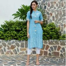 Blue Front Tassel Printed Chambray Kurta