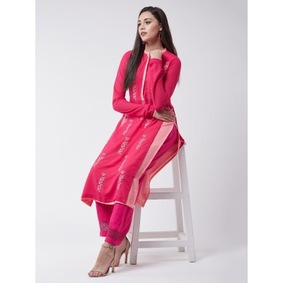 Pink Georgette Allover Embroidered Layered Kurta