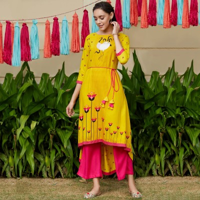 Yellow Dori Asymmetric Flamingo Printed Kurta